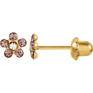 14kt Yellow JUNE 03.00X03.00 MM Polished FLOWER BIRTHSTONE EARRING. Price: $48.57