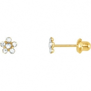 14kt Yellow JANUARY 03.00X03.00 MM Polished FLOWER BIRTHSTONE EARRING