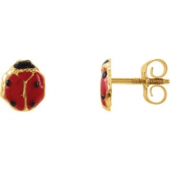14kt Yellow EARRING W/PACKAGING Complete No Setting 07.00X06.00 MM Polished YOUTH LADYBUG EAR W/BACK