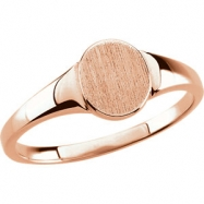14kt Rose RING Polished SIGNET RING