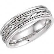 14kt White 10.5 06.75 mm Hand Woven Band