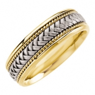 14kt White/Yellow SIZE 07.50 Polished TT COMFORT FIT BAND