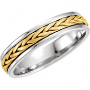 14kt White/Yellow 10.5 05.00 mm Hand Woven Band