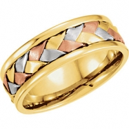 14kt Yellow/White/Rose 9 07.75 mm Tri Color Hand Woven Band