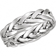 14kt White 10.50 06.50 mm Bridal Hand Woven Band