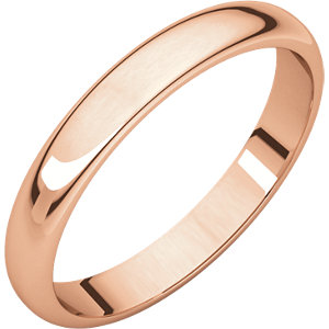 14kt Rose 03.00 mm Half Round Band. Price: $225.61