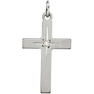 14kt White 13.00X09.00 MM Polished CROSS PENDANT W/DIAMOND
