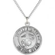 Sterling Silver 18.00MM Polished ST. CHRISTOPHER/US MARINE MEDA