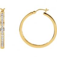 14kt Yellow PAIR 1 CT TW Polished DIAMOND HOOP EARRING