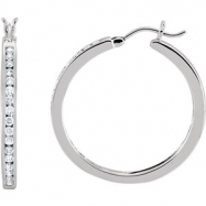 14kt White PAIR 1/2 CT TW Polished DIAMOND HOOP EARRING
