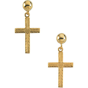 14kt Yellow PAIR 13.00X10.00 MM Polished CROSS W/HEART BALL DANGLE EARR. Price: $120.55