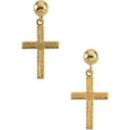 14kt Yellow PAIR 13.00X10.00 MM Polished CROSS W/HEART BALL DANGLE EARR