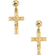 14kt Yellow PAIR 14.00X09.00 MM Polished CRUCIFIX BALL DANGLE EARRING