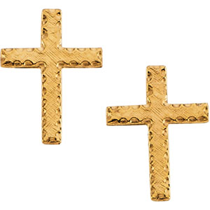14kt Yellow PAIR 13.00X09.00 MM Polished CROSS EARRING. Price: $77.62