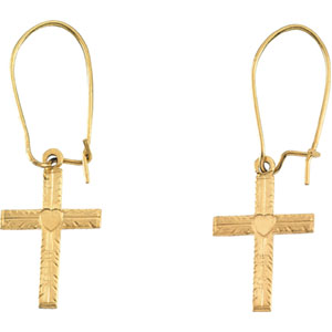 14kt Yellow PAIR 13.00X10.00 MM Polished EARWIRE W/CROSS. Price: $78.70