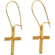 14kt Yellow PAIR 13.00X10.00 MM Polished EARWIRE W/CROSS