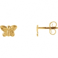 14kt Yellow PAIR 05.00X07.00 MM Polished YOUTH BUTTERFLY EARRING
