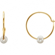 EARRING NONE ROUND 12.00 mm PEARL NONE Complete with Stone 14kt Yellow Polished YOUTH PEARL EARRING