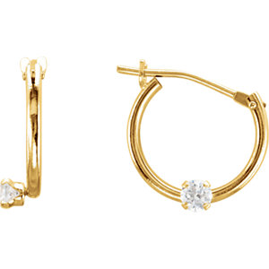 14kt Yellow EARRING Complete with Stone 11.50 mm PAIR ROUND 02.00 mm CZ Polished YOUTH HOOP EARRING . Price: $106.90