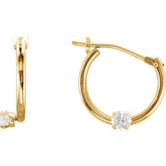 14kt Yellow EARRING Complete with Stone 11.50 mm PAIR ROUND 02.00 mm CZ Polished YOUTH HOOP EARRING