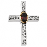 14kt Yellow 23.00X15.75 MM Polished GENUINE RUBY AND DIAMOND CROSS