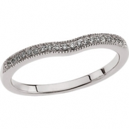 14kt White Band Complete with Stone 1/10CTW Diamond Band