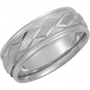 14kt White Band 13.00 NONE Complete No Setting Polished DUO BAND