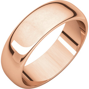 14kt Rose 06.00 mm Half Round Band. Price: $513.92