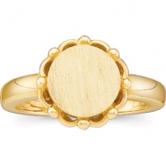 14kt Yellow LADIES Polished METAL FASHION SIGNET RING