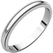 14kt White 02.50 mm Milgrain Band