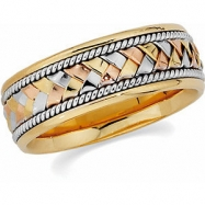 14kt Yellow/White/Rose SIZE 10.50 Polished TRI COLOR HAND WOVEN BAND
