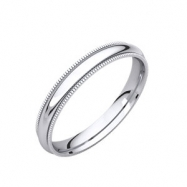 14kt White 03.00 mm Comfort Fit Milgrain Band