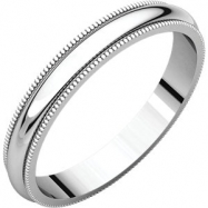 14kt White 03.00 mm Milgrain Band