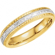 14kt Yellow/White SIZE 7 Polished TWO TONE HAND ENGRAVED BAND