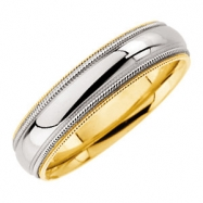 18kt Yellow & Platinum SIZE 6 Polished TT DESIGN MILGRAIN BAND