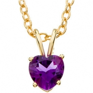 14kt Yellow 06.00 MM Polished GENUINE AMETHYST PENDANT