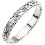 14kt White 8 Hand Engraved Band