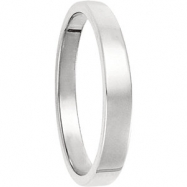 14kt White 03.00 mm Flat Tapered Band