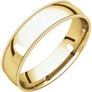 14kt Yellow 05.00 mm Light Comfort Fit Milgrain Band