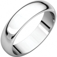10kt White 05.00 mm Half Round Band