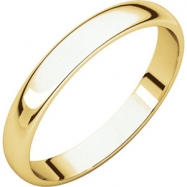 10kt Yellow 03.00 mm Light Half Round Band