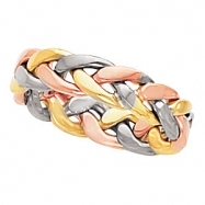 14kt Yellow/White/Rose 12.00 4.75 mm Hand Woven Band
