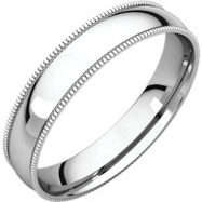 14kt White 04.00 mm Light Comfort Fit Milgrain Band