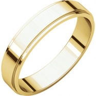 14kt Yellow 04.00 mm Flat Edge Band