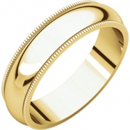 14kt Yellow 05.00 mm Comfort Fit Milgrain Band