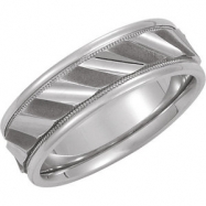 14kt White Band 08.50 NONE Complete No Setting Polished DESIGN DUO BAND