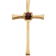 14kt Yellow Complete with Stone Ruby Polished Ruby Cross Pendant