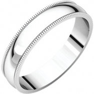 14kt White 04.00 mm Light Milgrain Band