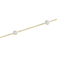 14kt Yellow NECKLACE Complete with Stone 18.00 INCH ROUND 04.00 MM CZ Polished CZ BEZEL STATION NECK