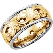 14kt Yellow/White SIZE 11 Polished TWO TONE HD ENGRAVED BND SZ11